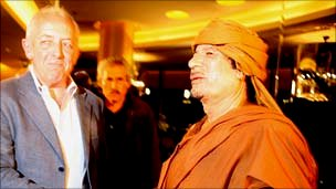Jeremy Bowen with Col Muammar Gaddafi