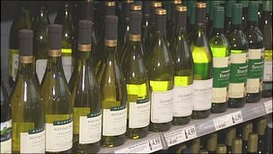 Wine on supermarket shelf