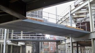 Footbridge in Trinity Leeds similar to the one stolen