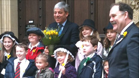 The Commons Speaker John Bercow receives daffodils from the London Welsh School
