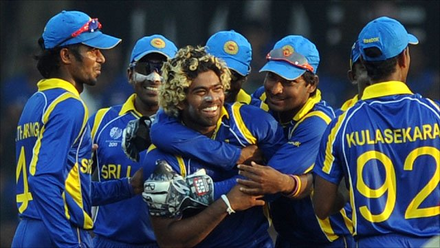 Lasith Malinga celebrates with his Sri Lanka team-mates
