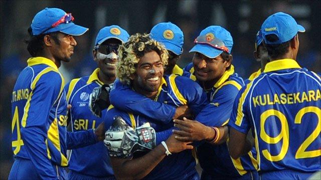 Lasith Malinga celebrates with his Sri Lanka team-mates