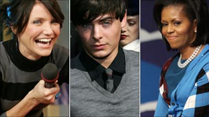 Sweater-wearers Cameron Diaz, Zac Efron and Michelle Obama
