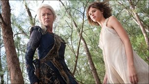 Dame Helen Mirren with Felicity Jones in The Tempest