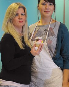 Cake shop owner Sally Dodd and assistant Terri Mammett