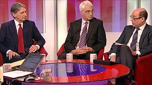 Philip Hammond, Alistair Darling and Nick Robinson