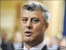 Hashim Thaci after his re-election as Kosovo prime minister at an extraordinary session of parliament in February 2011