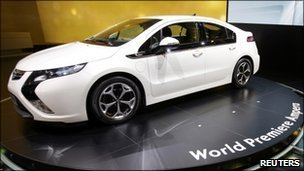 The new Opel Ampera car on display at the Geneva motor show