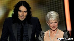 Dame Helen Mirren with Russell Brand