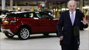 Vince Cable visits Jaguar Land Rover in Halewood