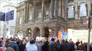 Protests outside Liverpool Town Hall