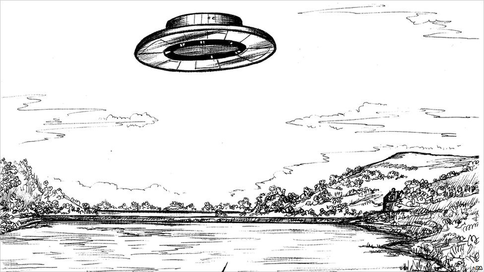 A sketch of a UFO in Scotland