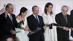 Mexican tycoon Carlos Slim (left) stands next to his daughter Soumaya, Mexican President Felipe Calderon (centre) and his wife Margarita Zavala, Colombian Nobel Prize-winning novelist Gabriel Garcia Marquez (right) as they cut the ribbon