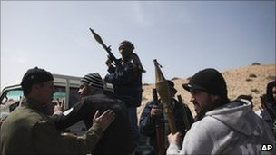 Anti-Gaddafi rebels outside Brega. Photo: 2 March 2011