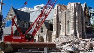Cathedral bolted with a steel frame, Christchurch on March 3, 2011