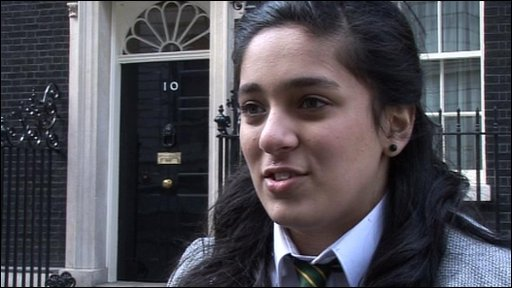One of the children who went to Downing Street to hand in the petition