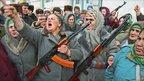 Women with Kalashnikovs demonstrate in the Chechen capital Grozny - A Nemenov 1994