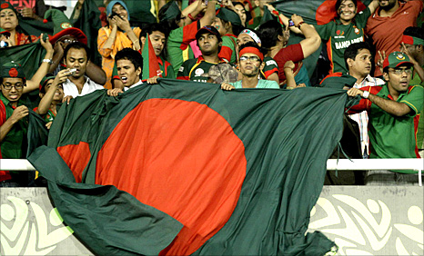 Bangladesh fans wave the flag