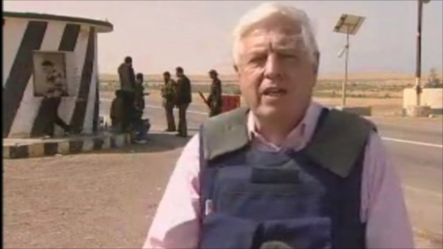 John Simpson, who is in Al-Aqaylah in central Libya, says it is 'not like the normal front line of a war zone'.
