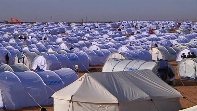 The transit camp on Tunisia's border area with Libya.