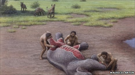 Hyenas and early humans compete for the kill (artist's impression)