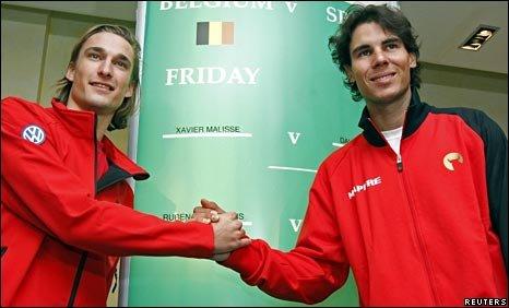 Belgium's Ruben Bemelmans and Spain's Rafael Nadal