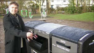 Mike Pitt and solar-powered bin