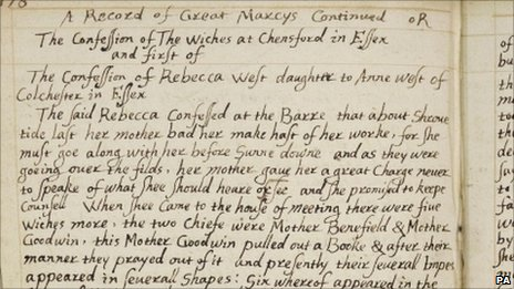 Page from the puritan writer's notebook