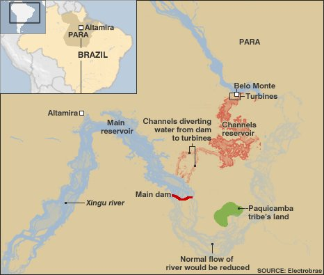 Map showing Belo Monte dam proposals