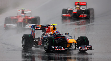 Mark Webber drives in the wet during the rain-hit 2010 Korean Grand Prix