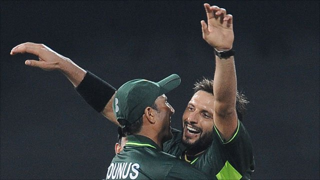 Pakistan captain Shahid Afridi celebrates