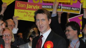 Dan Jarvis reacts to victory