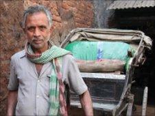 Laxman pulling his rickshaw