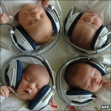 New born babies listen to music in an experimental music therapy session in Slovakia