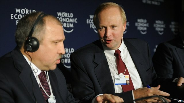 BP Chief Executive Bob Dudley (r) and Rosneft President Eduard Khudainatov at a World Economic Forum meeting