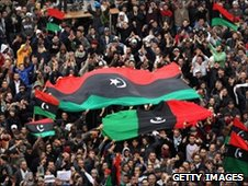 Libyan opposition supporters demonstrate in Benghazi, Libya