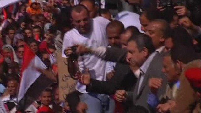 Essam Sharaf addresses the crowds