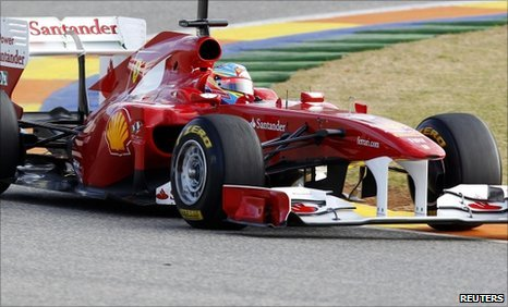 Fernando Alonso drives the Italian tema's 2011 Formula 1 racing car