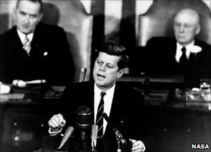 John F Kennedy giving speech to Congress about the Moon