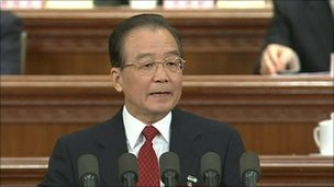 Chinese Premier Wen Jiabao speaking at the National People&#039;s Congress - 4 March 2011