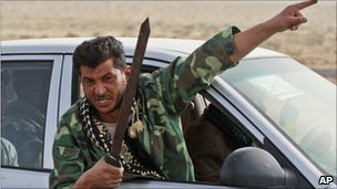 A Libyan rebel fighter on the way to Ras Lanuf - 4 March 2011