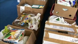 Okehampton food bank parcels