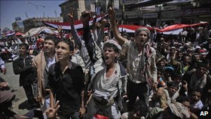 Anti-government protesters in Sana'a, Yemen, on March 5 2011