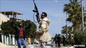 Anti-Gaddafi gunmen in the centre of Zawiya, Libya, 5 March 2011