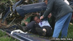 Nigel Farage in a wrecked plane on general election day