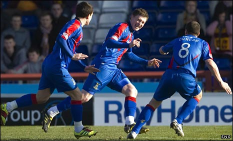 Caley Thistle celebrate the opening goal