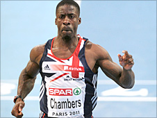 Dwain Chambers in action