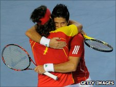 Spain's Fernando Verdasco (R)and Feliciano Lopez (L) celebrate winning their Davis Cup first round match