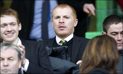 Neil Lennon in Celtic's stand