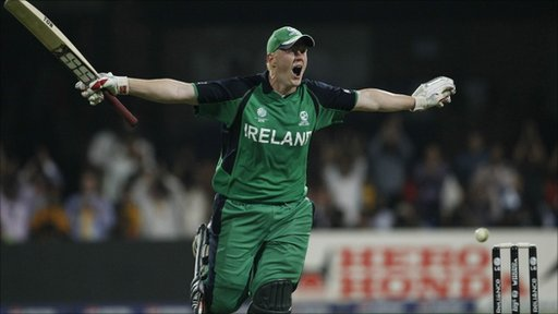 Celebrating Ireland's cricket victory